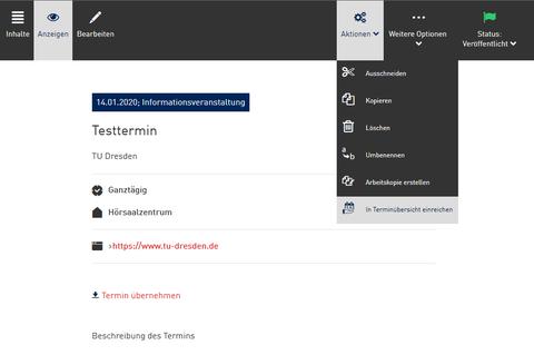 """Screenshot aus dem WebCMS - Aktion """"In Terminübersicht einreichen"""""""