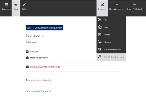 "Screenshot from the WebCMS - Action ""Submit to an event board""."