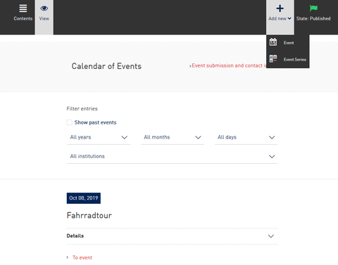 Screenshot from the WebCMS - Add new event to event calendar