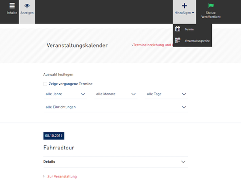 Screenshot aus dem WebCMS - Termin zum Veranstaltungskalender hinzufügen