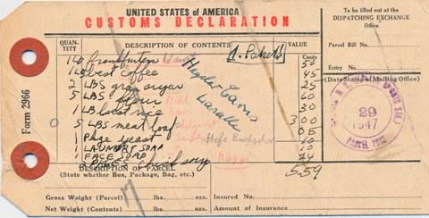 Lebenmittellieferungen aus Amerika 1947 im NL Barkhausen