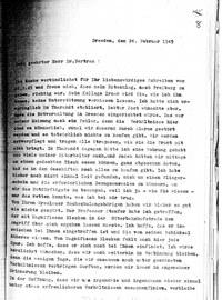 Schreiben zur Notverwaltung der TH und den Verbleib von Kollegen der TH Breslau nach dem Angriff auf Dresden.