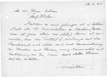 Schreiben eines Mitarbeiters der Fakultät für Maschinenwesen an den damaligen Dekan zur Lage des Instituts am 14. 02. 1945.