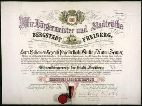 Ehrenbürgerurkunde der Stadt Freiberg im Nachlass von Prof. Zeuner