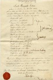 Abgangszeugnis von August Erler von der Technischen Bildungsanstalt Dresden aus dem Jahr 1840. Erler war später Professor am Kgl. Polytechnikum