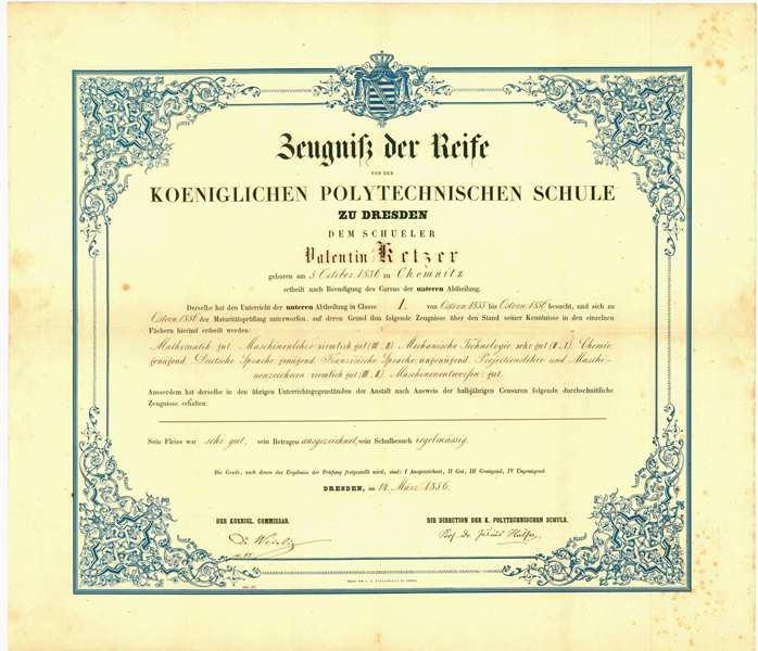 Nachlass V. Ketzer, Zeugnis der Reife 1856
