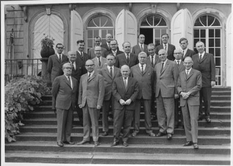 Letzte Fakultätssitzung der Fakultät für Maschinenwesen 1968 in Gaussig. U. a. mit Prof. Albring.