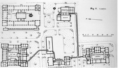 Bebauungsplan für die zukünftige Bebauung des Geländes in der Südvorstadt. Etwa 1903.