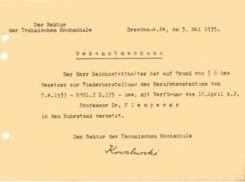 Entlassung von Prof. Klemperer