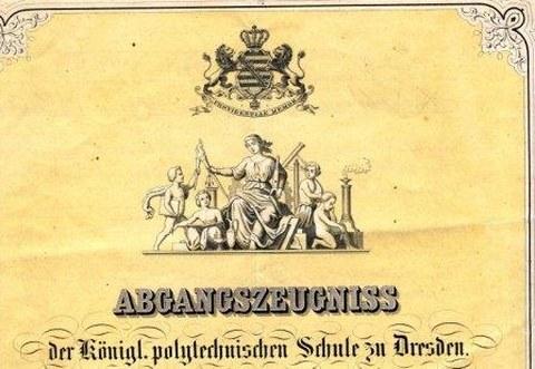 Abschlusszeugnis des Kgl. sächs. Polytechnikums 1868.