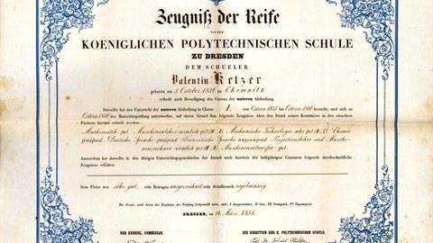 Zeugnis des Studierenden Valentin Ketzer aus dem Jahr 1856.