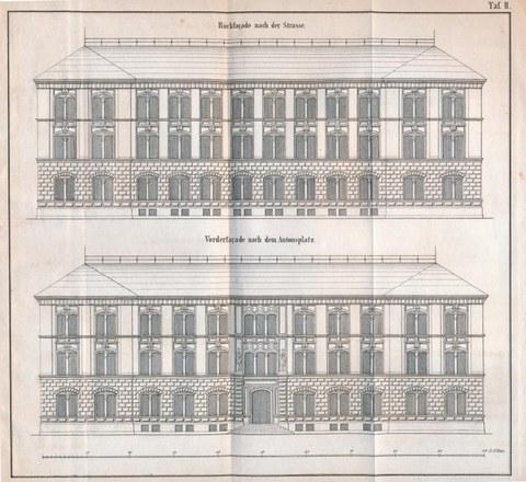Darstellung des ehemaligen Hauptgebäude am Antonsplatz