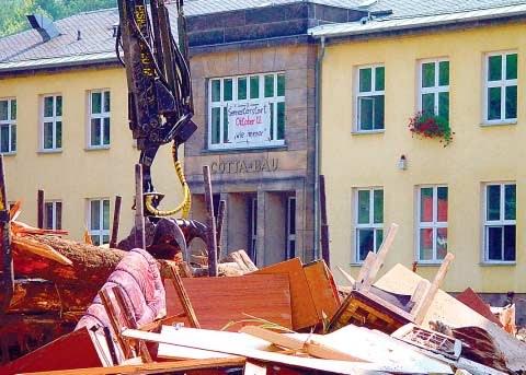 Cotta-Bau in Tharandt nach der Flut