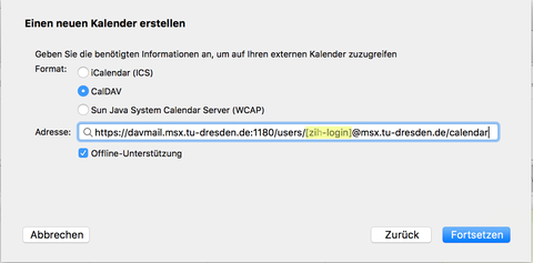 "Option ""CalDav"" und Kalenderadresse"