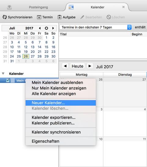 Neuen Kalender erstellen