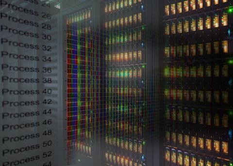 Bildkollage aus Visualisierungsoberfläche VAMPIR mit Prozessen und HPC-System des ZIH