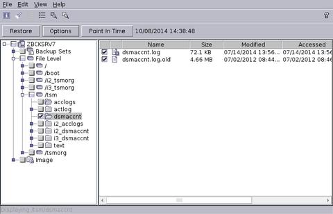 Restore GUI pitd Auswahl