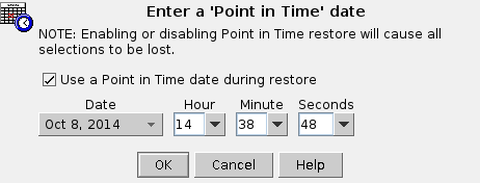 Restore GUI point_in_time