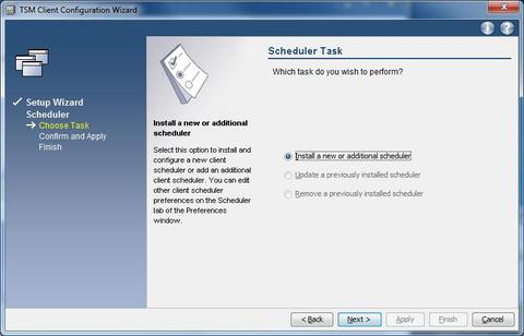 GUI configuration wizard   scheduler install new