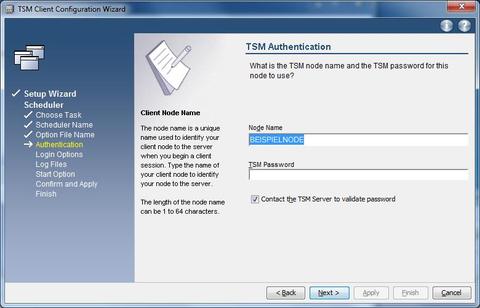 GUI setup wizard   scheduler   Authentication