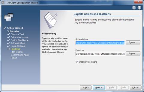 GUI setup wizard  scheduler  logfiles