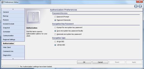 GUI setup wizard client preferences  authorization