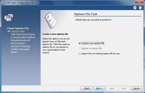 "Configuration Wizard ""Create options file"""