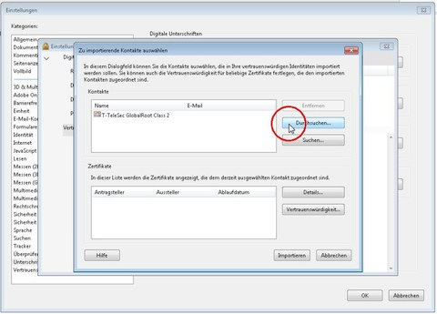 Fenster Zu importierende Kontakte auswählen, Deutsche Telekom Root CA 2, Importieren