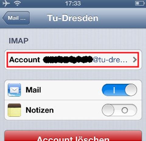 Accounteinstellungen anwählen
