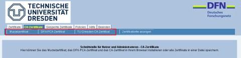 Zertifikate Installieren