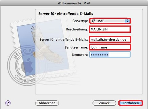 Configuration of Mac OS X Mail as a Mail Client for TU