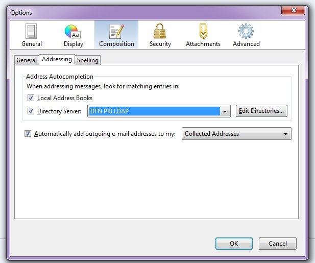 E-Mail Configuration for Usage of the DFN PKI LDAP Directory