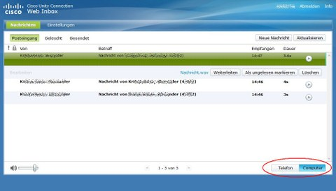 Voicemail Inbox Posteingang Abhoeren am PC
