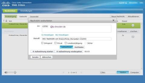 Voicemail Inbox Weiterleitung mit Aufzeichnung