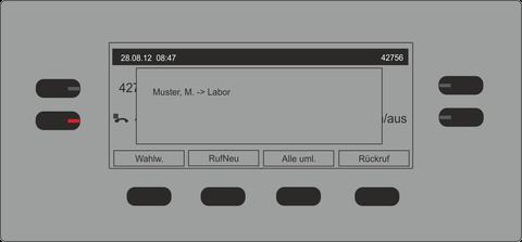 Bild 1 eines Anrufes auf ein Mitglied der Pickup-Group mit BLF-Taste