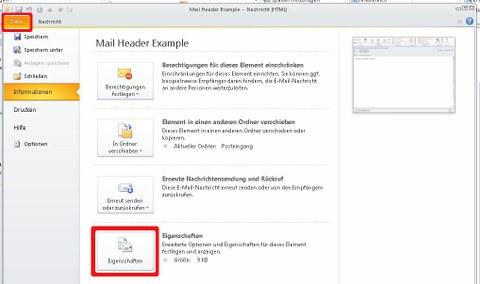Outlook 2010 Mail Informations Übersicht