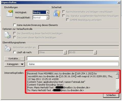 Outlook 2010 Ansicht der Eigenschaften der E-Mail mit den Kopfzeilen