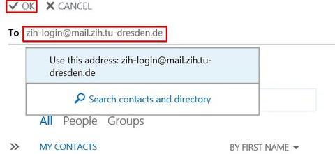 Empfängeradresse eintragen
