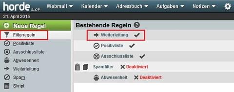 Horde Webmail Filter