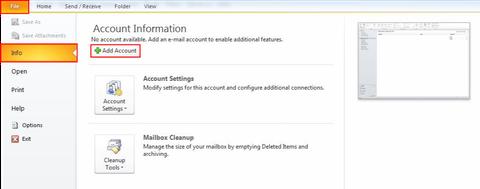 Outlook - Dateimenü