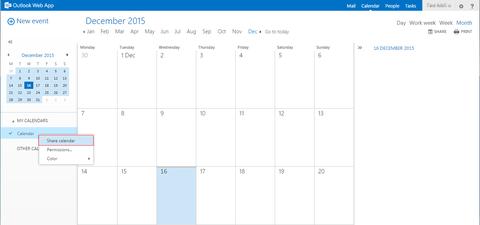 Kalender Rechtsklick => Kalender freigeben