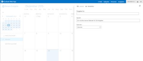 Kalender Freigabemenü