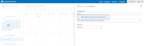 Kalender: Kontakte und Verzeichnisse suchen