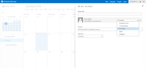 Kalender: Berechtigungen