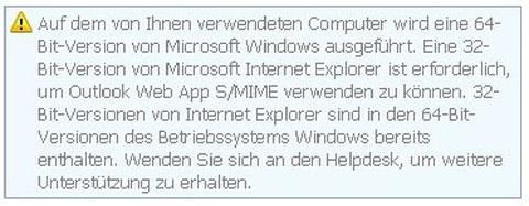 Warnhinweis 32 bit Version des IE wird benötigt