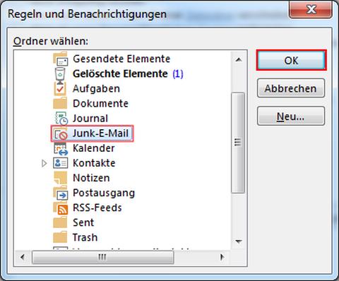 Junk E-Mail auswählen