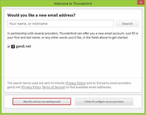 Bereits bestehende Email-Adresse verwenden