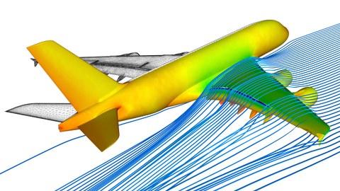 """Das Bild zeigt das Ergebnis einer numerischen Strömungssimulation an einem Airbus A380. Am Rumpf ist die Druckverteilung während des Fluges zu erkennen, an der rechten Tragfläche die Strömungsverteilung. Die linke Tragfläche zeigt ein """"Rechengitter""""."""