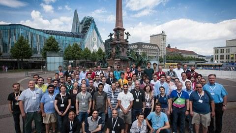 Teilnehmende der ScaDS-Sommerschule 2019 in der Leipziger Innenstadt.