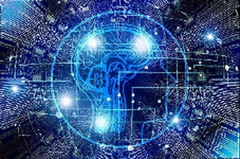 Bildkomposition mit Piktogramm für ein Gehirn und visualisierten Datenströmen